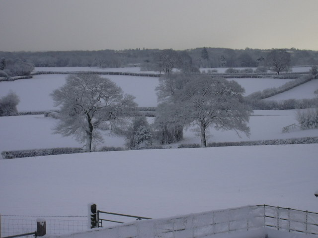 Snow scene at Birch Hill Farm, Ellesmere, Shropshire