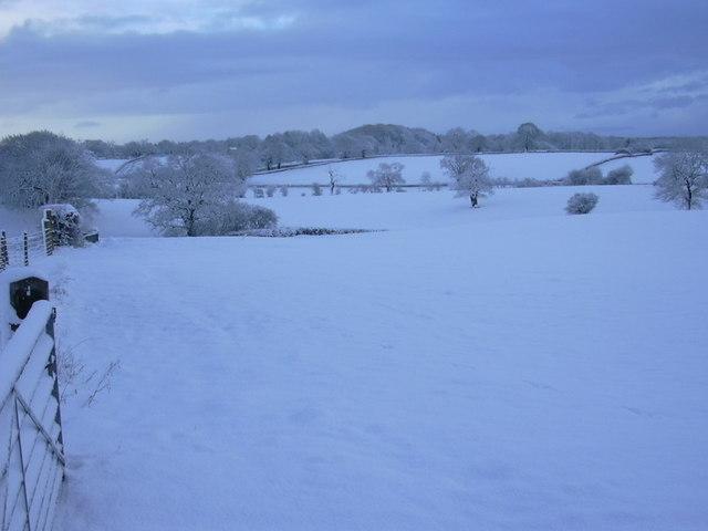 Snowy landscape at Birch Hill Farm Caravan Club CL