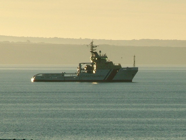 Coastguard cutter outside of harbour