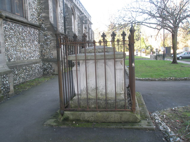 Impressive tomb outside St Mary's Portsea