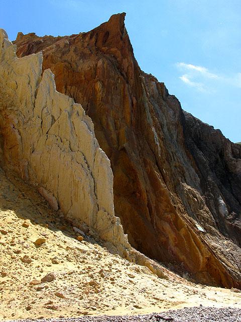 Cliffs along the coast at Alum Bay: Isle of Wight