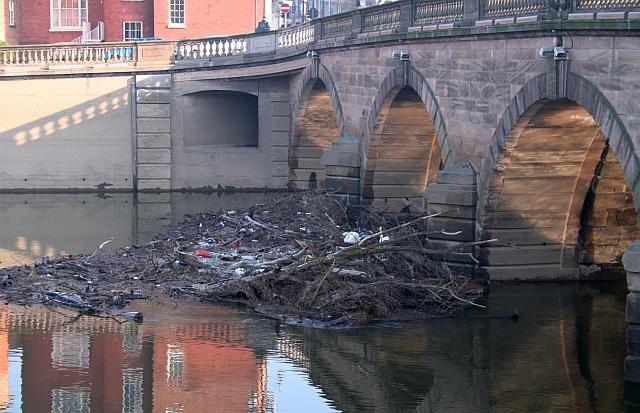 Debris Blocking Worcester Bridge.