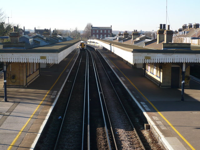 Faversham rail station taken on the bridge from St. Catherine's church