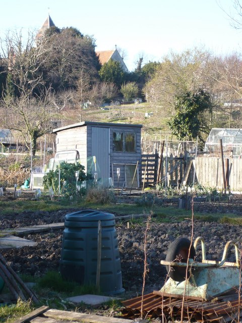 Stonebridge allotments from Flood Lane
