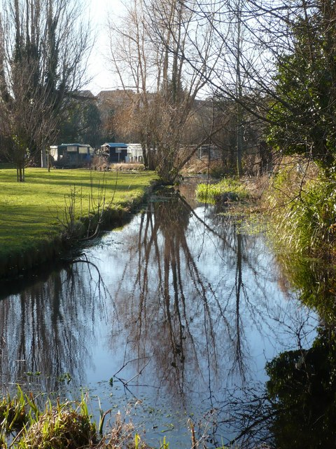 The water divides Flood Lane from the allotments
