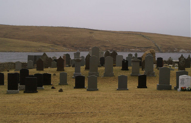 Cullivoe cemetery and Kirk Loch
