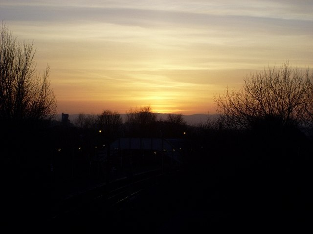 Sunset view of Drumry train station