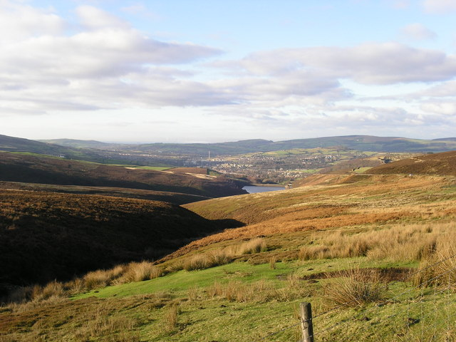 Hurst Brook & Reservoir with Glossop in the background