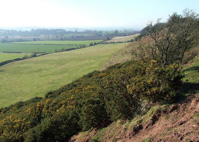 Farmland below Abbot's Castle Hill, Shropshire