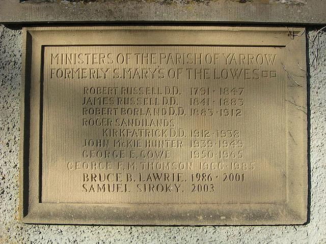 Stone tablet at Yarrow Kirk