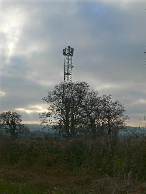 Telecommunications mast near Llong