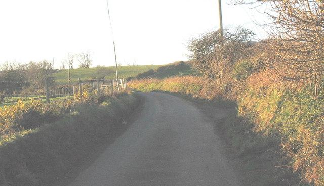 Bend in the Llwyndyrys road