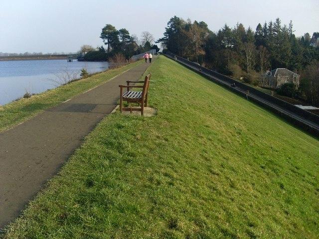 Pathway along dam of Mugdock Reservoir
