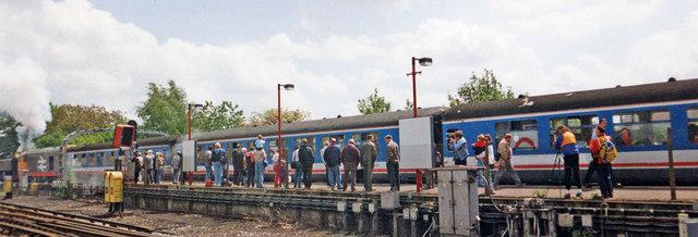 Main line train at Amersham Station, Buckinghamshire