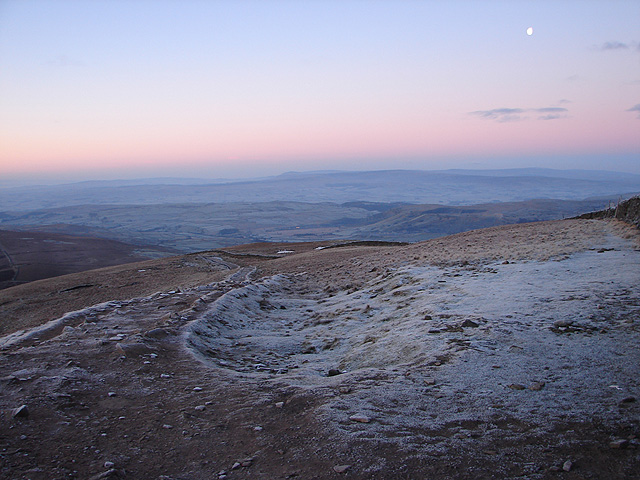 Dawn viewed from Pen-y-ghent summit