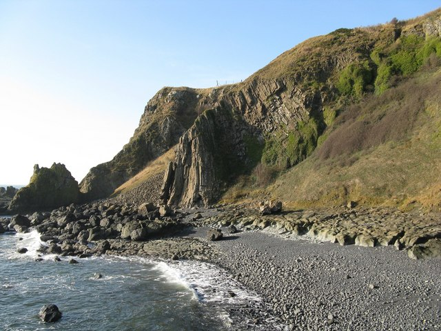 Stone Beach and Basalt Rock Pillars at Kincraig Point