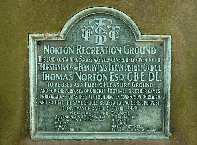 Norton Recreation Ground plaque