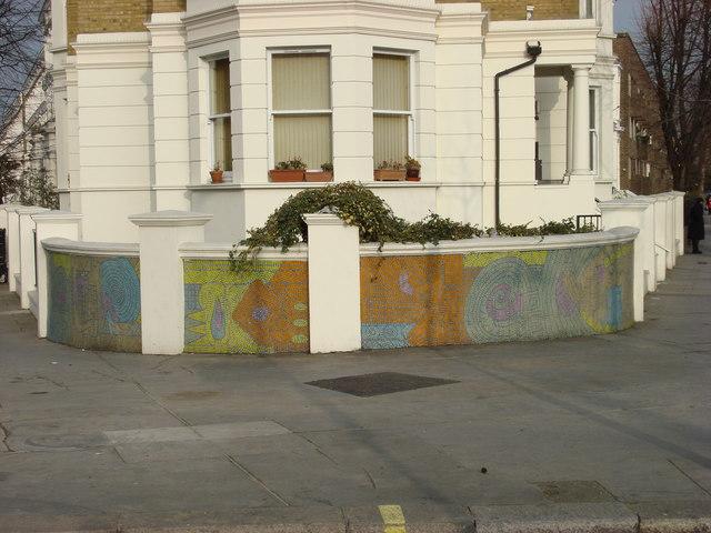 Mosaic wall close to Walterton Road Public Toilets