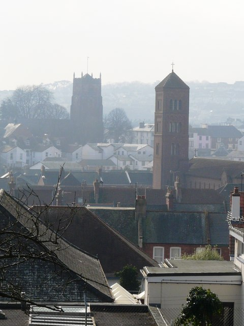 Church towers, seen from Oldway mansion, Paignton