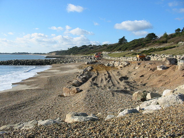 Sea defence works Highcliffe Dorset