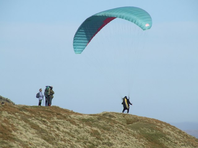 Paraglider prepares for 'lift-off' from Whernside's summit