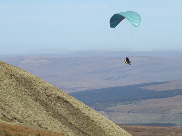 Paragliding from Whernside's summit