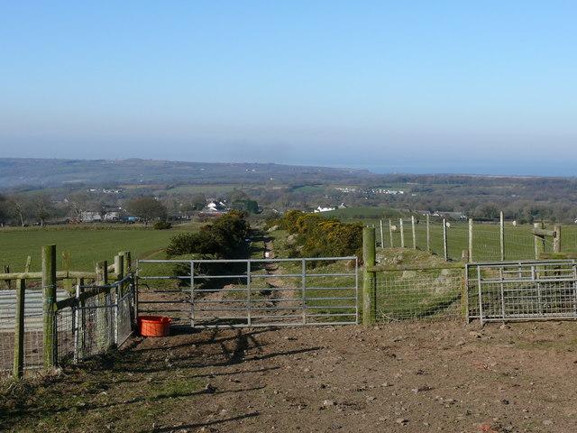 Trac Fferm uwchben Plas Farm / Farm track above Plas Farm