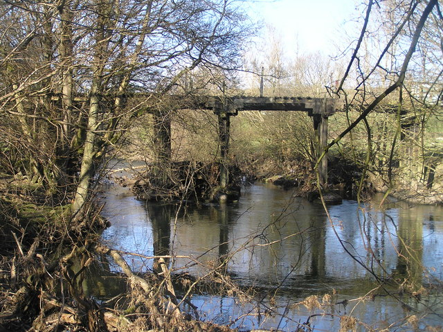 River Severn,wooden disused railway bridge.