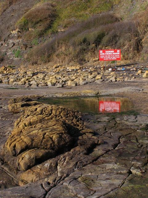 Warning sign on the beach, Kimmeridge Bay