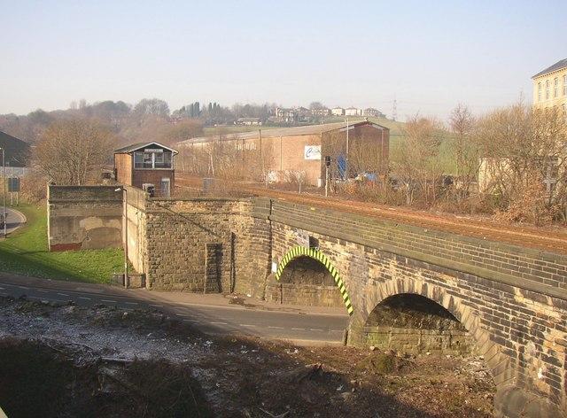 Signal box and bridge, seen from Calderdale Way (A629), Elland