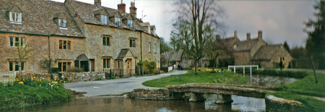 River Eye with cottages, Lower Slaughter, Gloucestershire