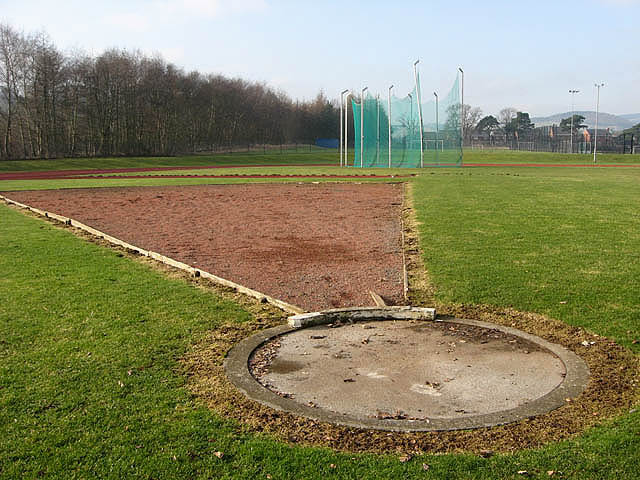 Shot putt circle at Tweedbank Sports Complex