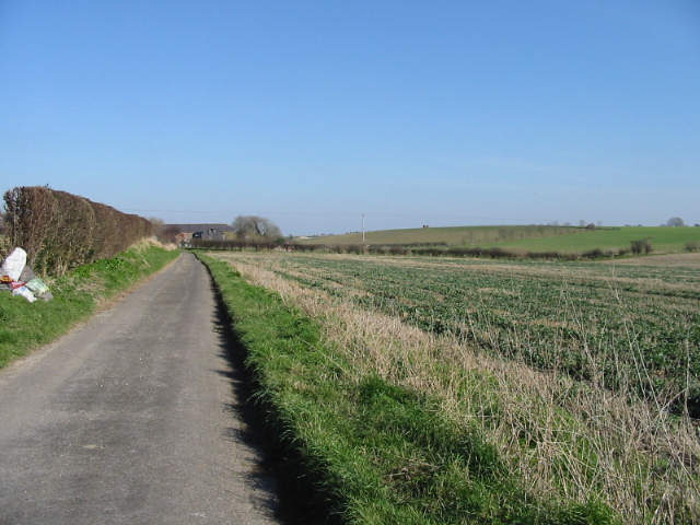 Looking NE along road towards Lower Rowling Farm
