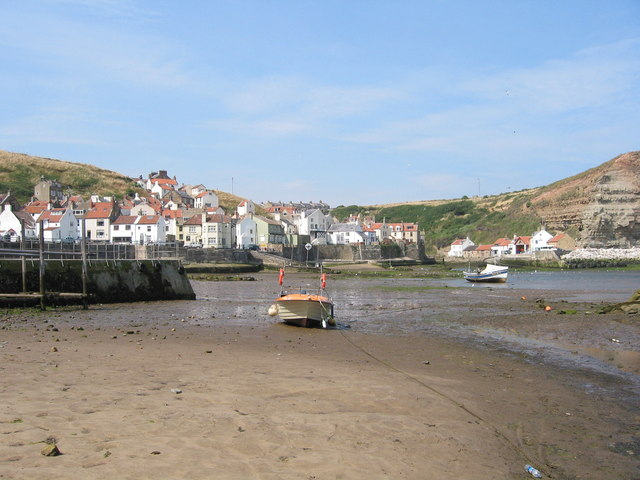 Staithes Harbour at low tide