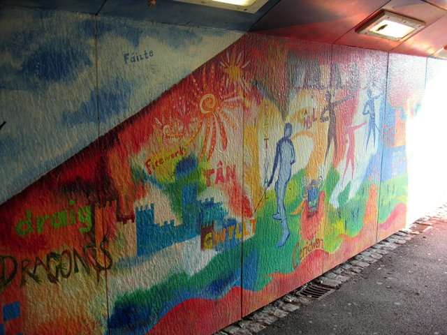 Artwork in the subway at Conwy