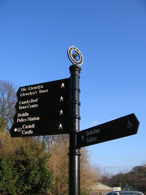 Signpost in Conwy car park