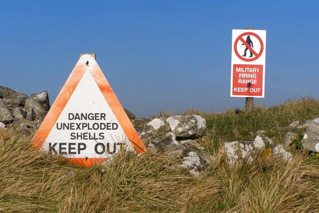 Warning signs, west of Tyneham Cap