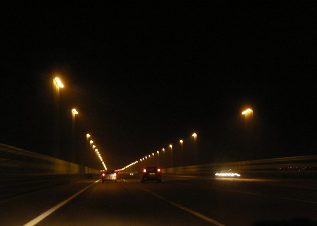 Approaching Wales at night