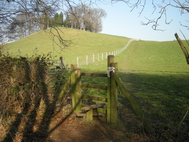 Stile along the path past Lodge Hill