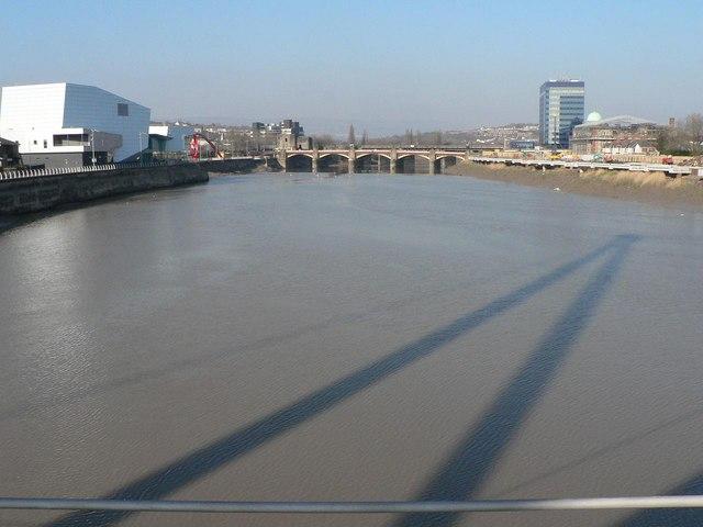 Newport: footbridge shadow