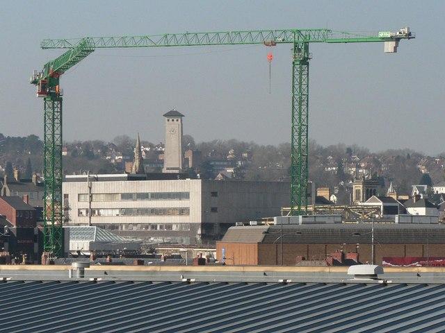Newport: cranes frame the Civic Centre