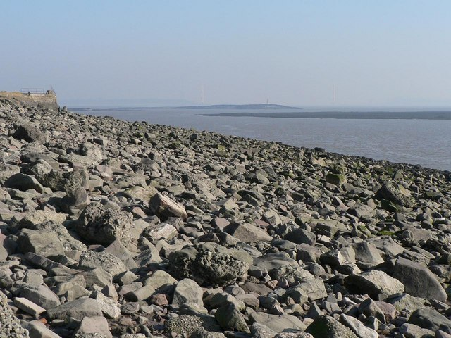 Sudbrook: boulders on Severn foreshore