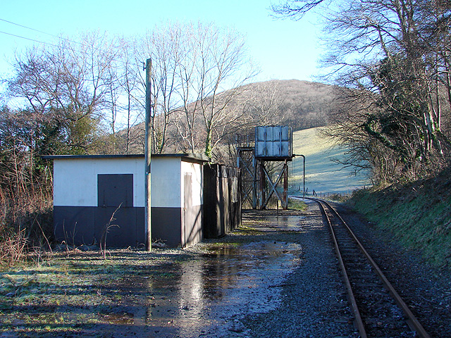 Sheds and water tower at Nantyronen