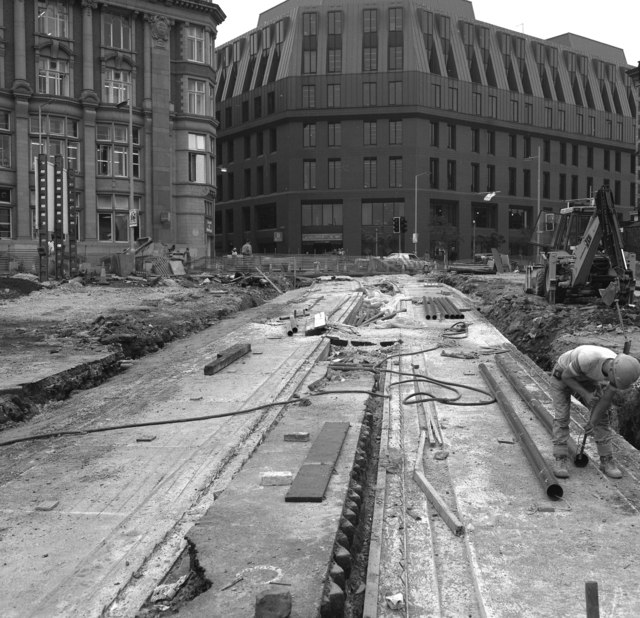 Laying drainage pipes, outside Manchester Victoria