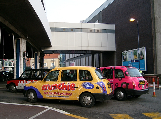 Taxis arriving at New Street Station