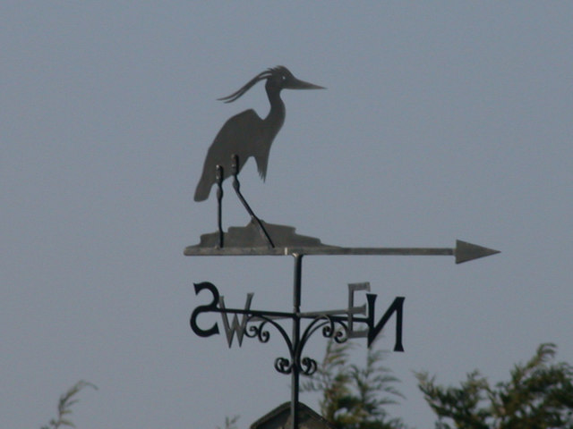 Heron weather vane on Frith Meadow
