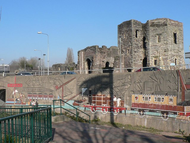 Newport: castle and mural