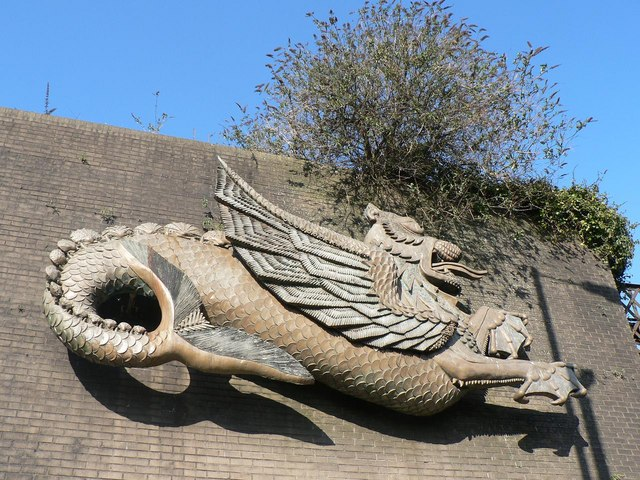 Newport: dragon on bridge