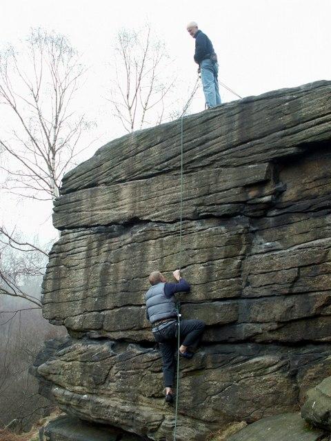Climbers on Bracken Hall Crag