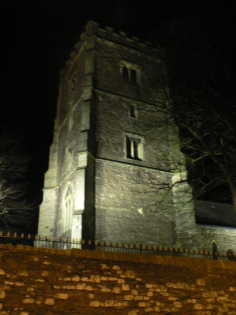 Newport: the cathedral floodlit
